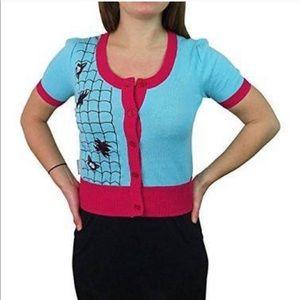 💫NEW M Spiderman Cardigan Sweater Gwen Retro blue